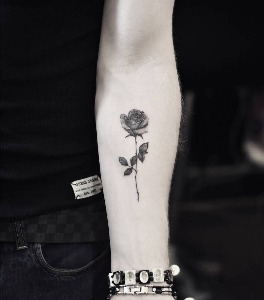 a26544d81 Fine line rose tattoo on the left inner forearm. | tattoos | Forearm ...