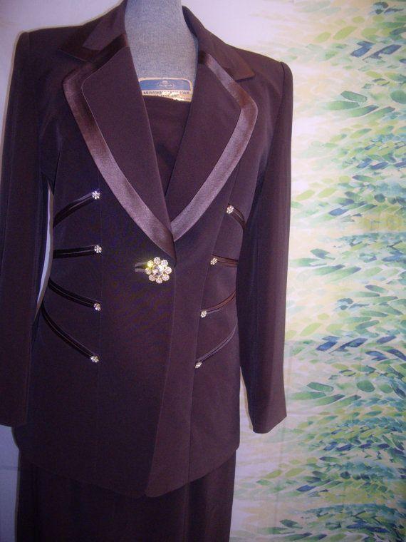 b95fad1b573 80s womens Sioni chocolate tuxedo dress suit by Themosaicdoor, $85.00 Tuxedo  Coat, Tuxedo Dress