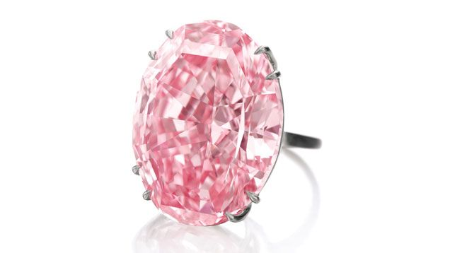 The Pink Star, a GIA-graded 59.60 carat Fancy Vivid pink diamond, sold for $83.2 million at a Sotheby's auction Nov. 12, 2013 in Geneva. Photo courtesy of Sotheby's