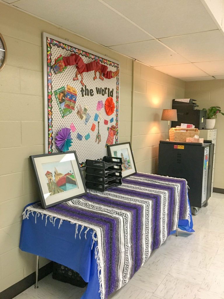 This colorful global themed classroom has a little farmhouse and a whole lotta boho going on! This