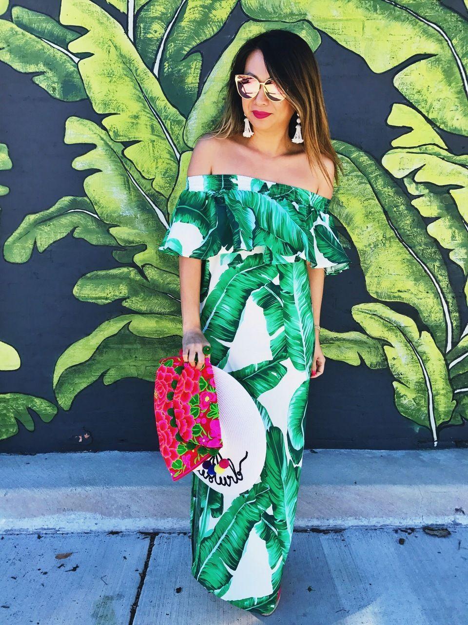 bbc8538e0495 Palm Leaf Dress | Bridesmaids in 2019 | Tropical dress, Dresses ...