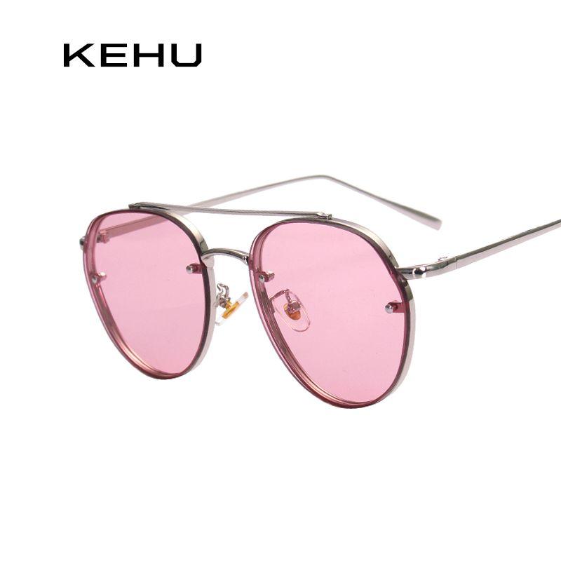 4d969c4291f KEHU Women Round Double Beam Sunglasses Men Clear lens Vintage Glasses  UV400 K9023  Affiliate