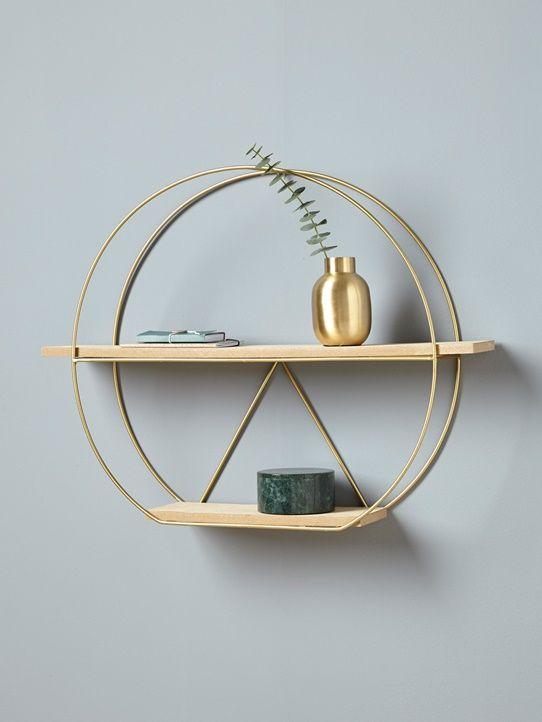Étagère ronde en métal et bois doré   bois naturel   Meubles et ... de3b80604a97