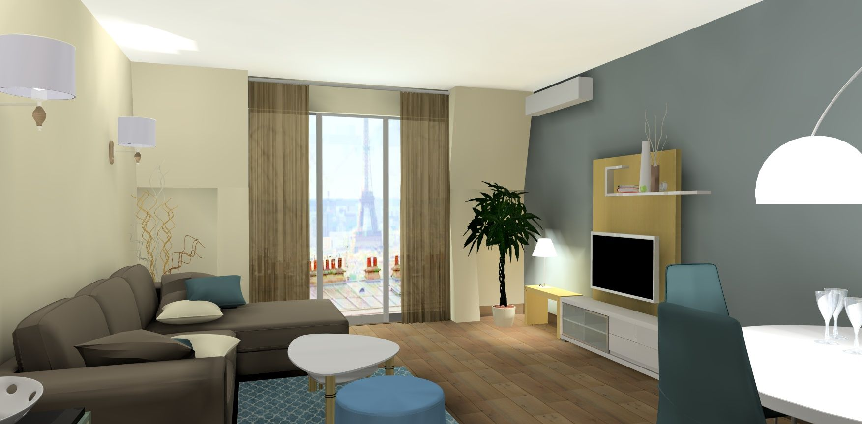 Vue 3d salon lin et bleu appartement plan 3d salon for Simulation 3d chambre