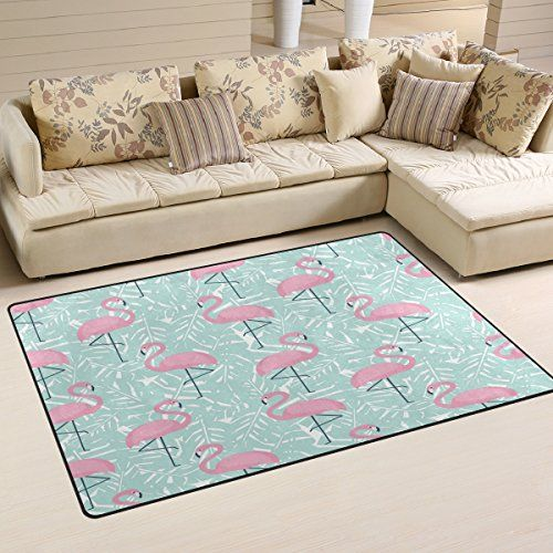 Wozo Tropical Palm Tree Leaves Pink Flamingo Area Rug Rugs Nonslip Rhpinterest: Palm Tree Rugs For Living Room At Home Improvement Advice