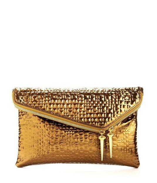 7808156ac DEBUTANTE ASYMMETRIC PYRAMID CLUTCH | Gold... | Bolsas, Sapatos e Ouro
