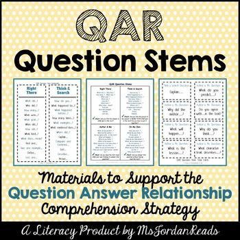 Question Answer Relationship Qar Student Question Stems Question Answer Relationship Reading Comprehension Worksheets Grade 5 Reading Comprehension Worksheets