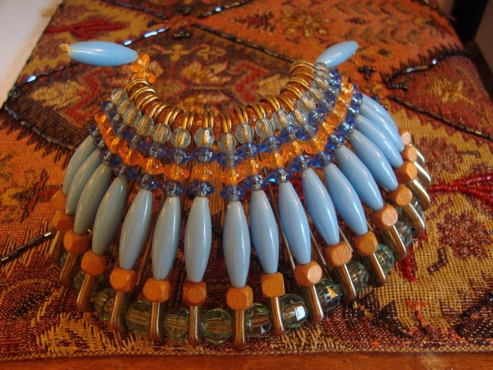 Vintage Safety Pin War Headdress Brass Pins & Wood