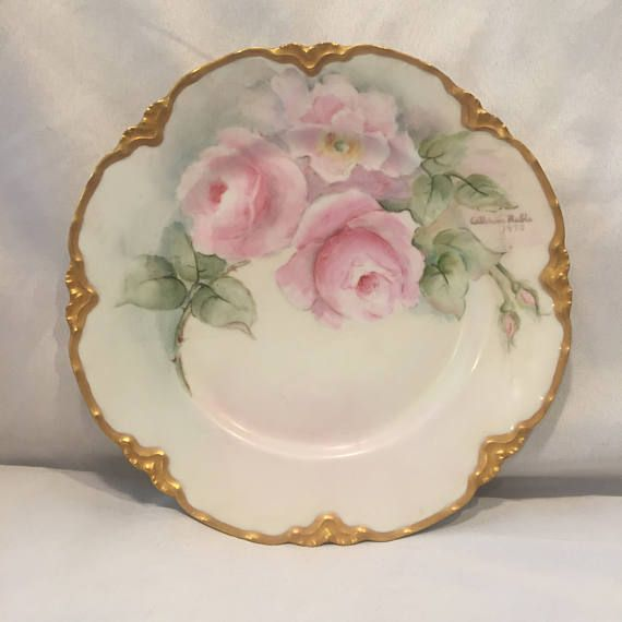 Hand Painted Decorative Plate - Roses - Haviland France - Artist Signed & Hand Painted Decorative Plate - Roses - Haviland France - Artist ...