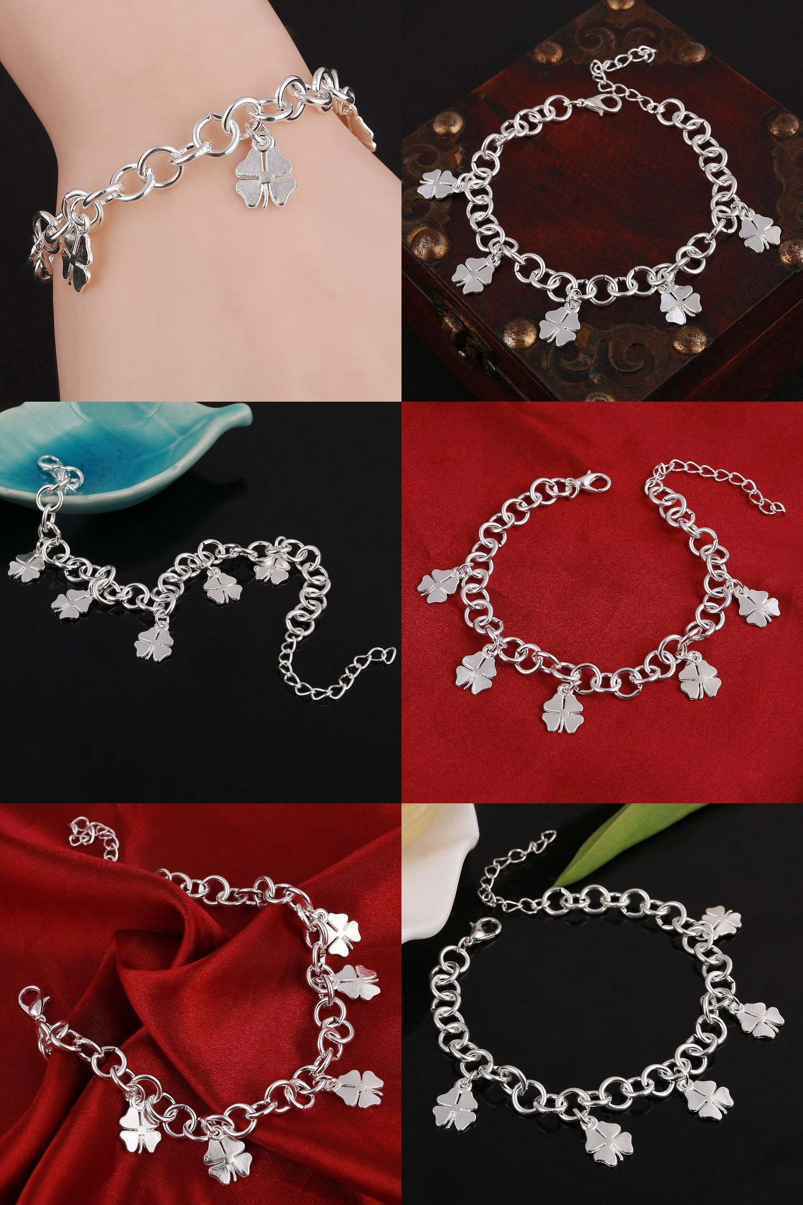 [Visit to Buy] hot- Silver Plated Lobster Clasp Link Bracelets Chain Bracelets for women Clover jewelry #Advertisement
