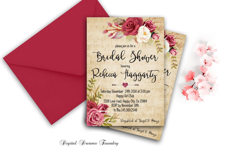 Rustic Bridal Shower Invitation Printable Christmas Bridal Shower ...