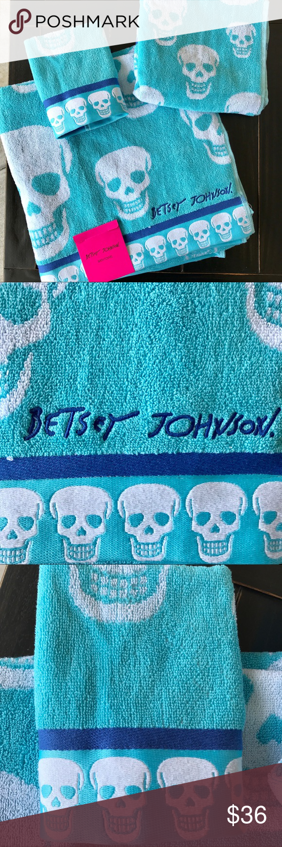 Betsey Johnson Towels Blue & White Skulls NWT | Large baths ...
