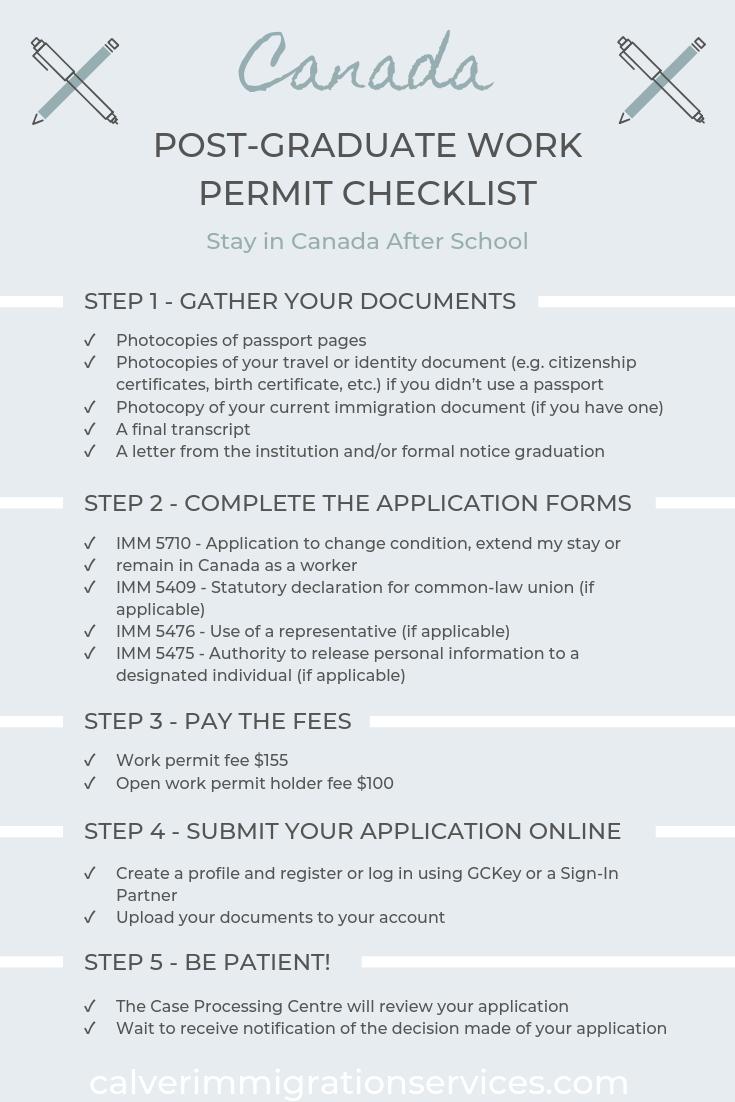 Post Graduate Work Permit Checklist Traveling By Yourself Checklist