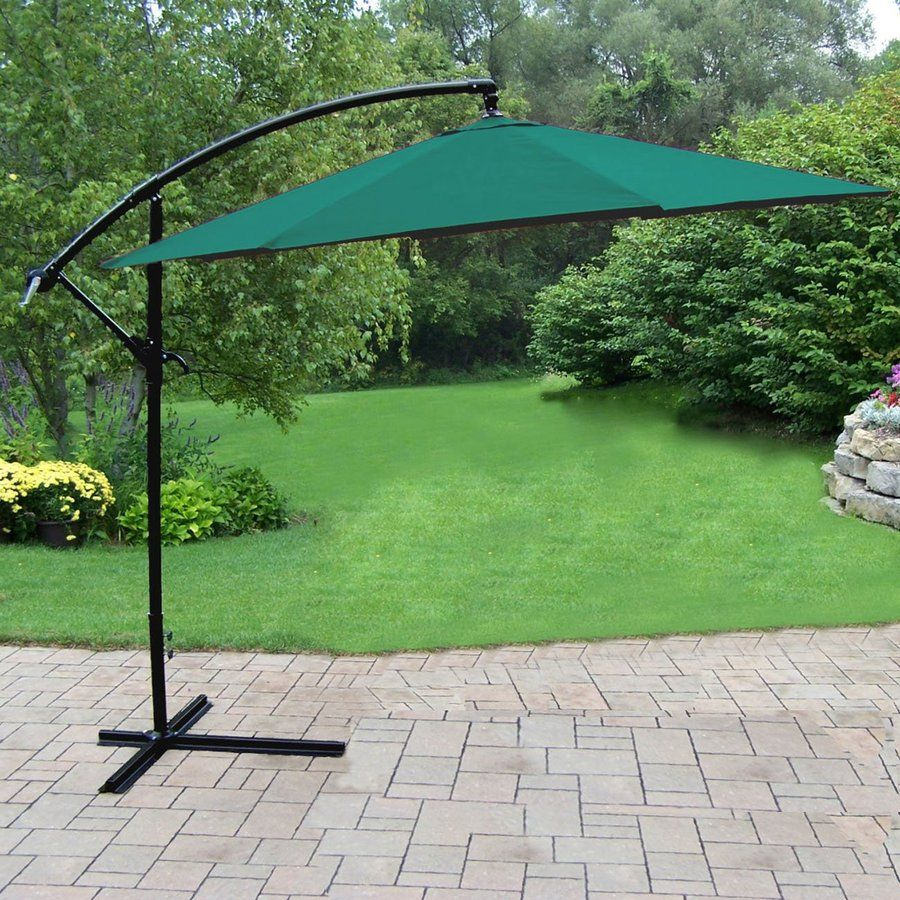 Oakland Living Green Offset 10 Ft Push Button Tilt Octagon Patio Umbrella With Aluminum Frame Lowes Com Patio Patio Bar Set Offset Patio Umbrella