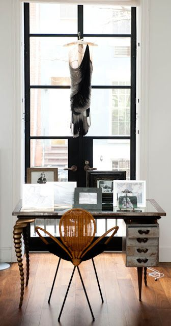 """Wow ..a window in a perfect location....a desk to """"die for"""" & elements that stir the soul....wonderful!  Tabitha Simmons' Chelsea townhouse"""