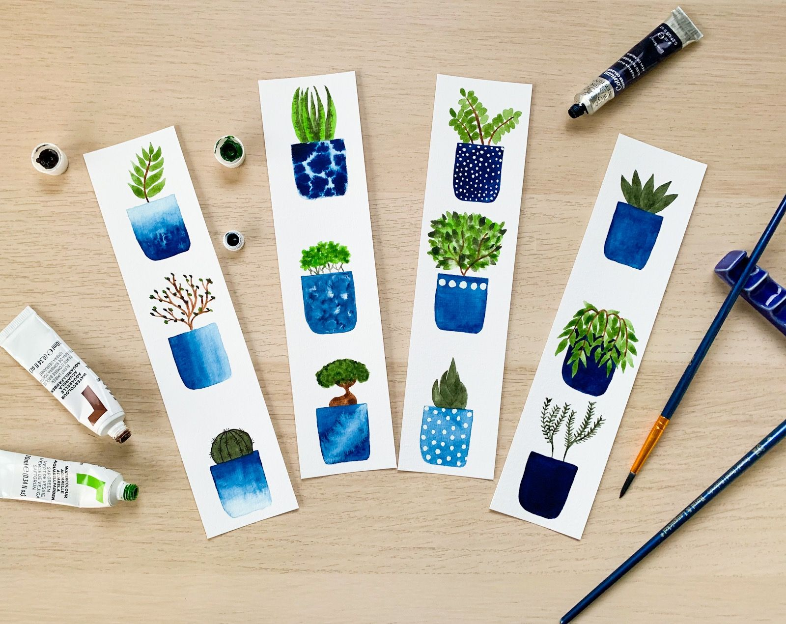 Plants Bookmarks Original Watercolour Bookmark Set Gifts For