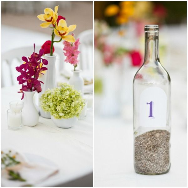 Table numbers on a wine bottle filled with sand could use any kind beach wedding sand table numbers message in a bottle centerpieces junglespirit Choice Image