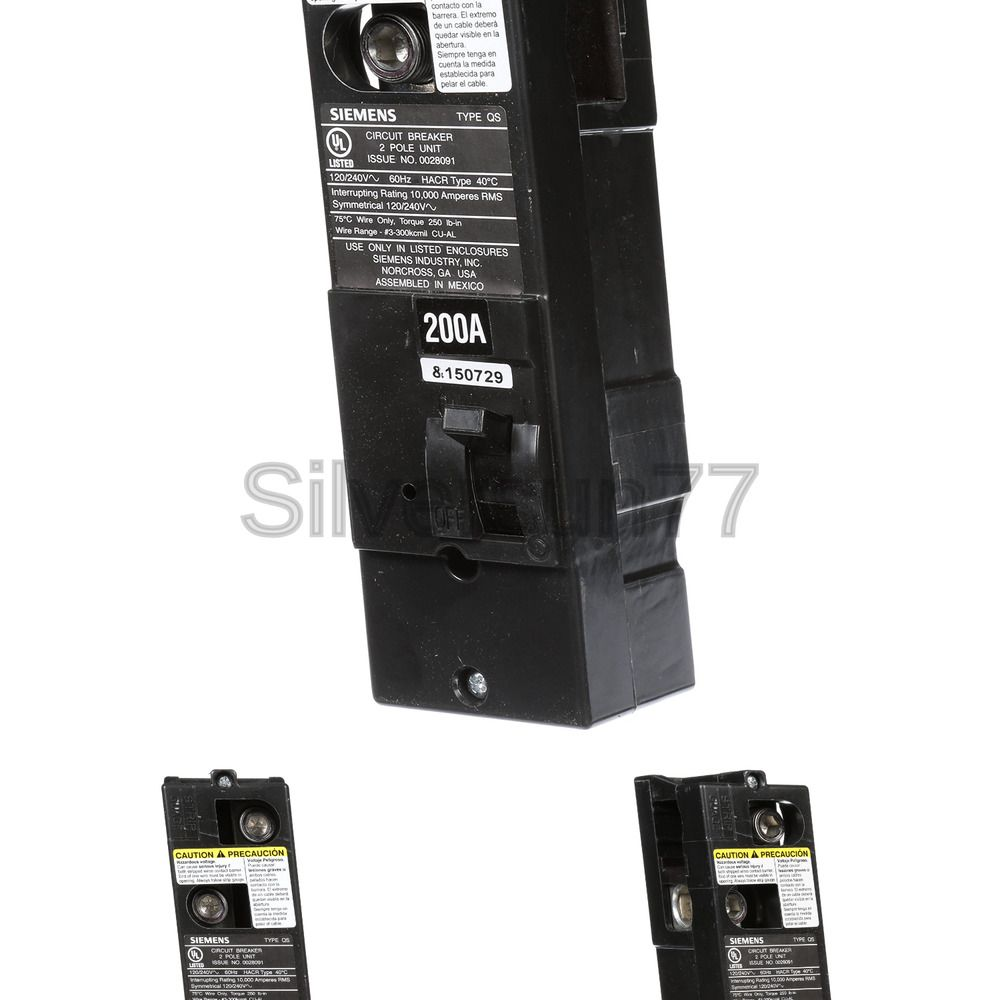 Sponsored Ebay Siemens Qs2200 Qs Type 200 Amp Multi Family Main Breaker 10 Kaic Rated Siemens Breakers Ebay
