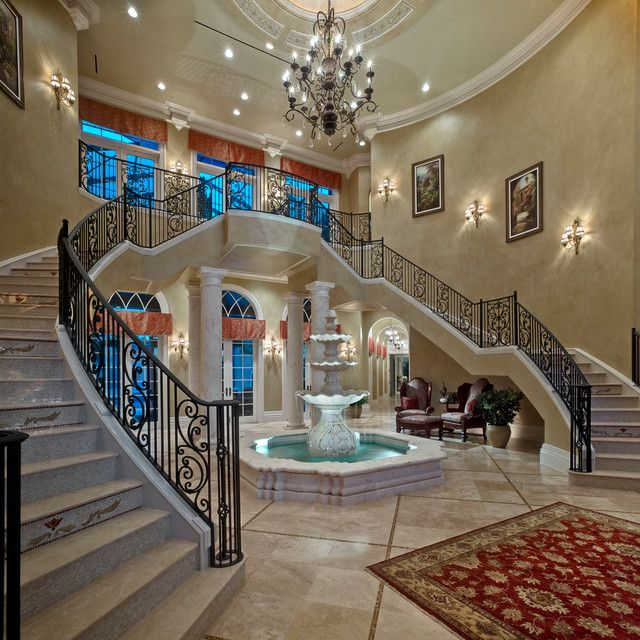 Best Luxury Double Staircase With Fountain In The Center 400 x 300