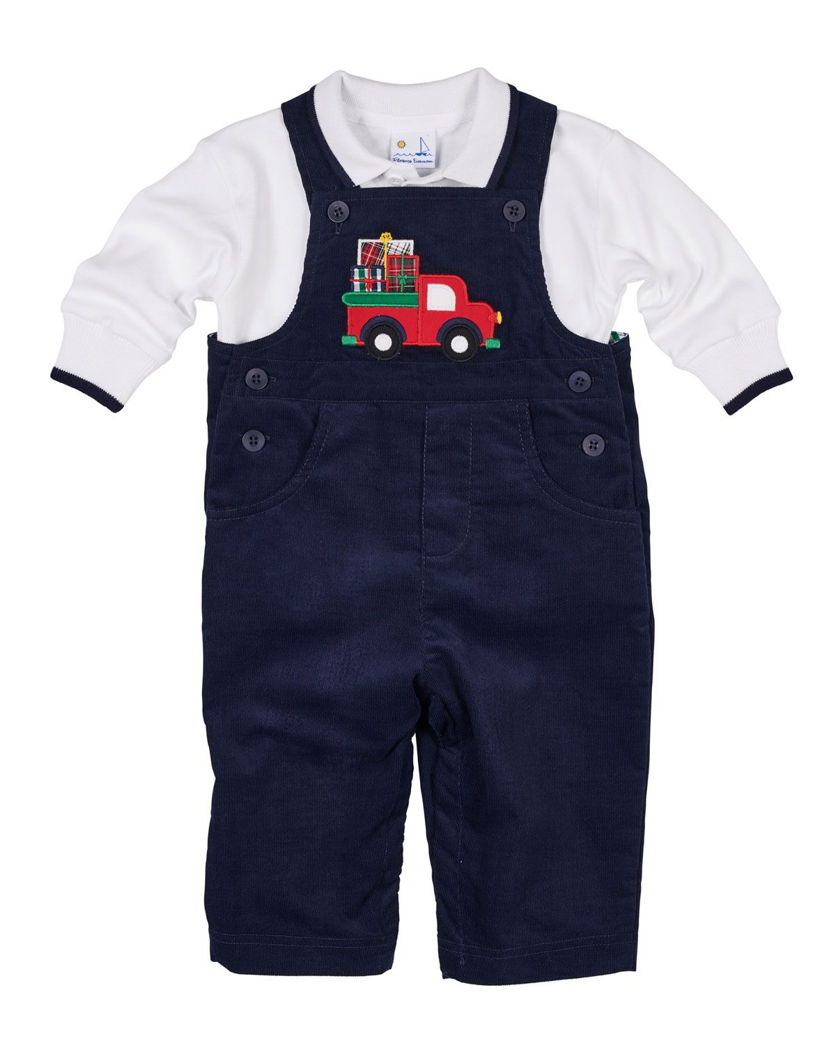 79d52833749f Florence Eiseman Pocket Full of Presents Overalls w  Long-Sleeve Polo Top