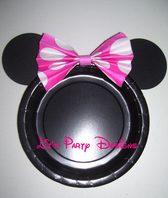 Plate set with Pink polka dot napkin bow & Plate set with Pink polka dot napkin bow | Minnie mouse Napkins and ...