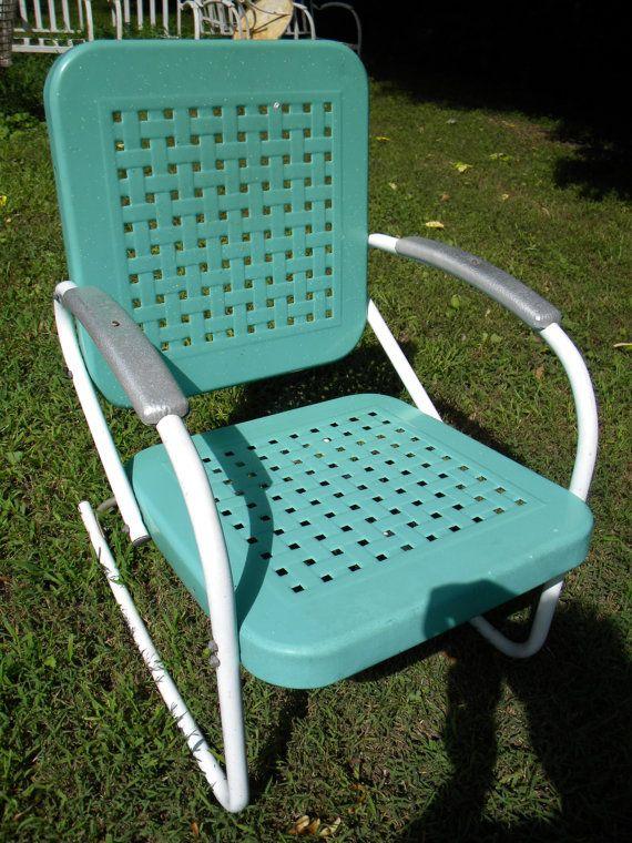 Vtg 50s 60s Retro Outdoor METAL Lawn Patio Porch Rocker