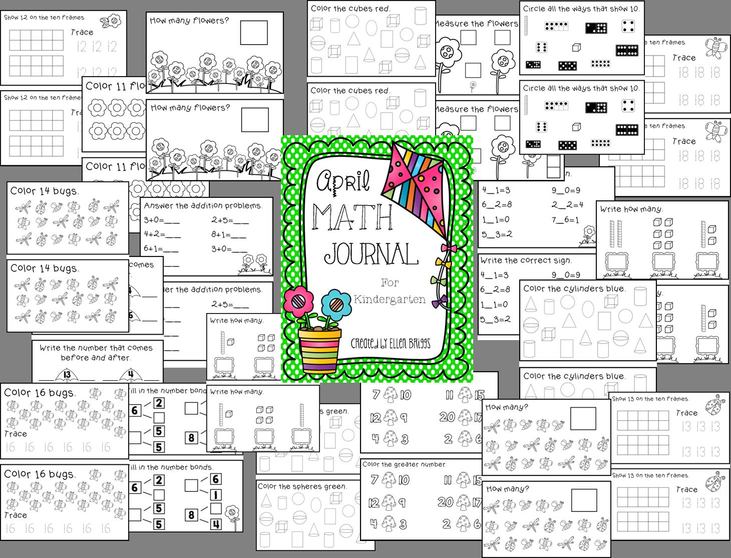 April Math Journal Kindergarten