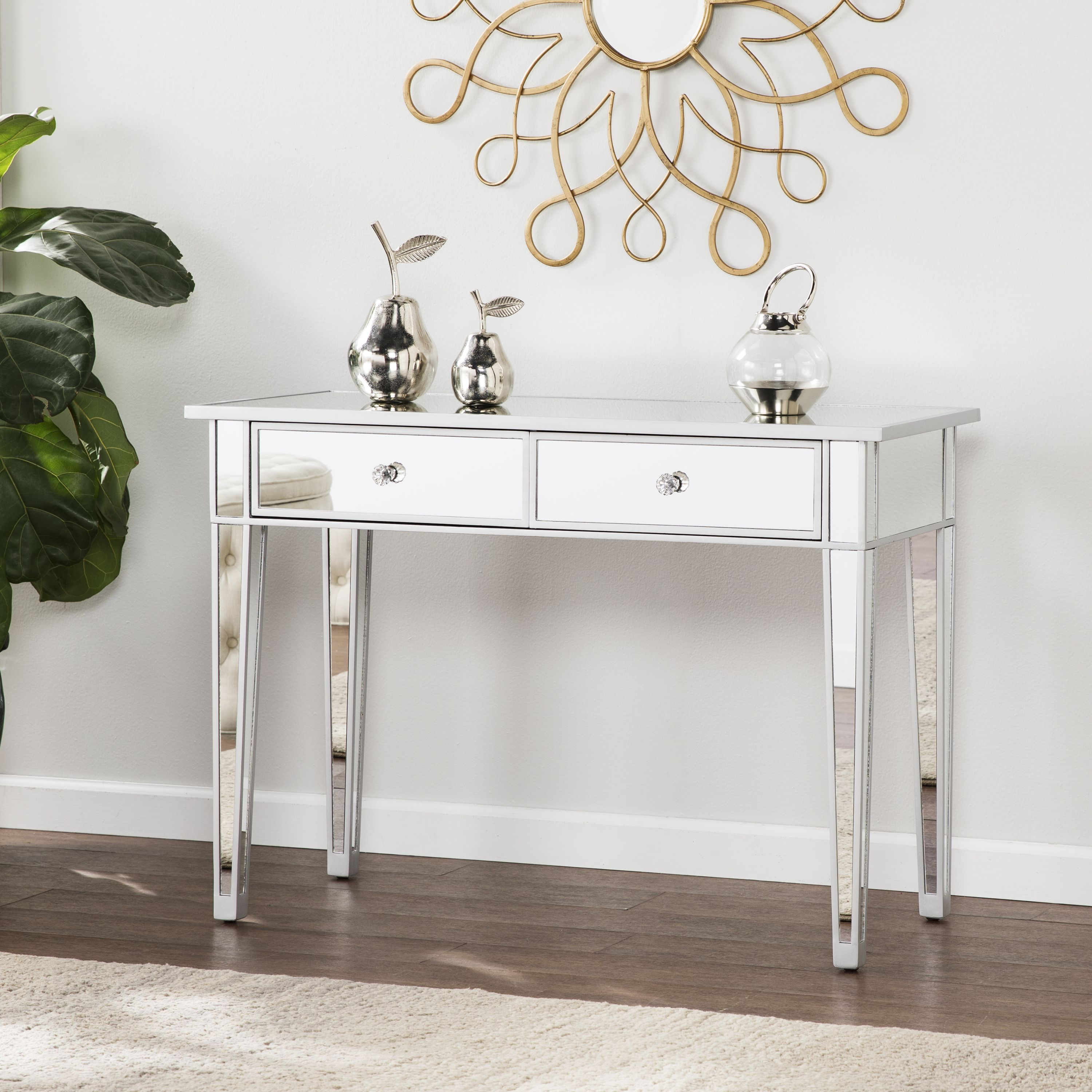 Southern Enterprises Illusions Collection Mirrored Console Table Desk Walmart Com In 2020 Mirrored Console Table Hall Console Table Mirrored Sofa Table