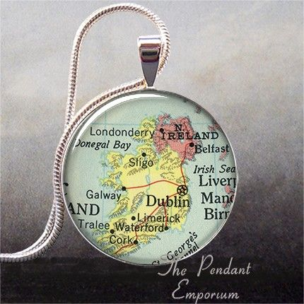 I have this Ireland vintage map pendant charm