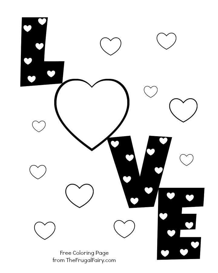 Valentines Coloring Pages Pdf : Valentine s printable love hearts coloring page