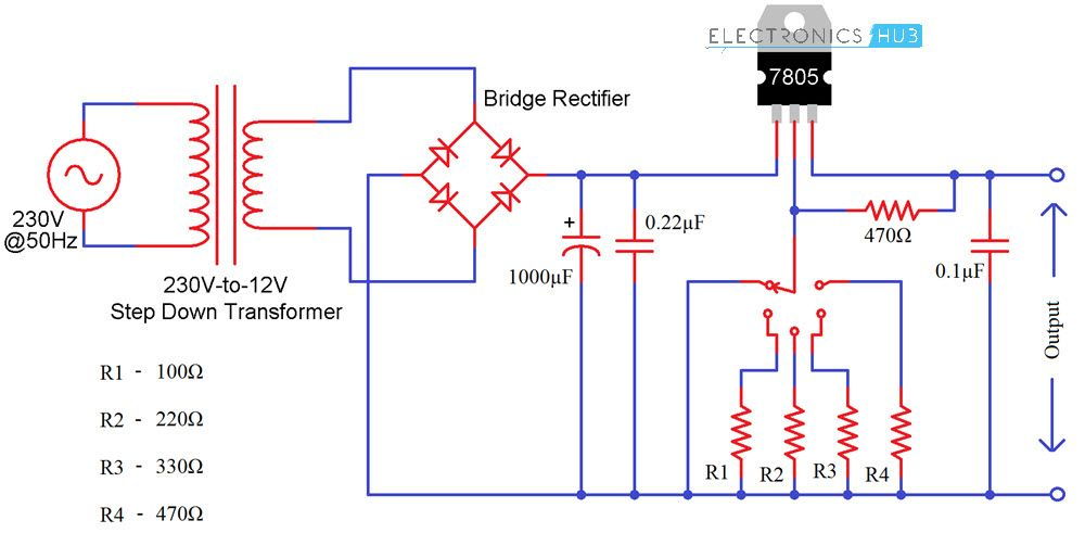 Variable Voltage Power Supply From Fixed Voltage Regulator Circuit Diagram Voltage Regulator Power Supply