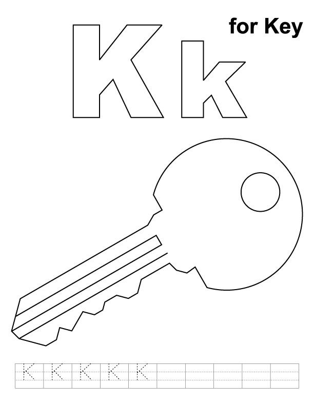 K for key coloring page with handwriting practice