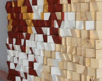 Madera reciclada de la pared arte mosaico de madera por for Mosaico madera pared