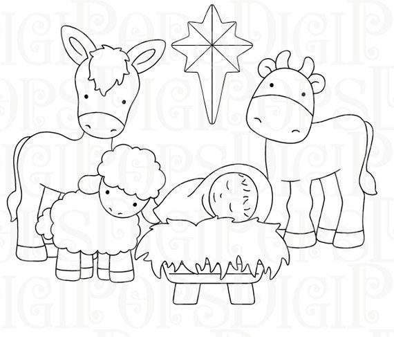 Nativity Digital Clip Art Set and Coloring Pages -Personal and ...
