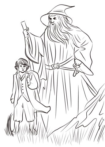Over Hill Bilbo And Gandalf Coloring Page Coloring Pages Lord Of The Rings Character Sketches