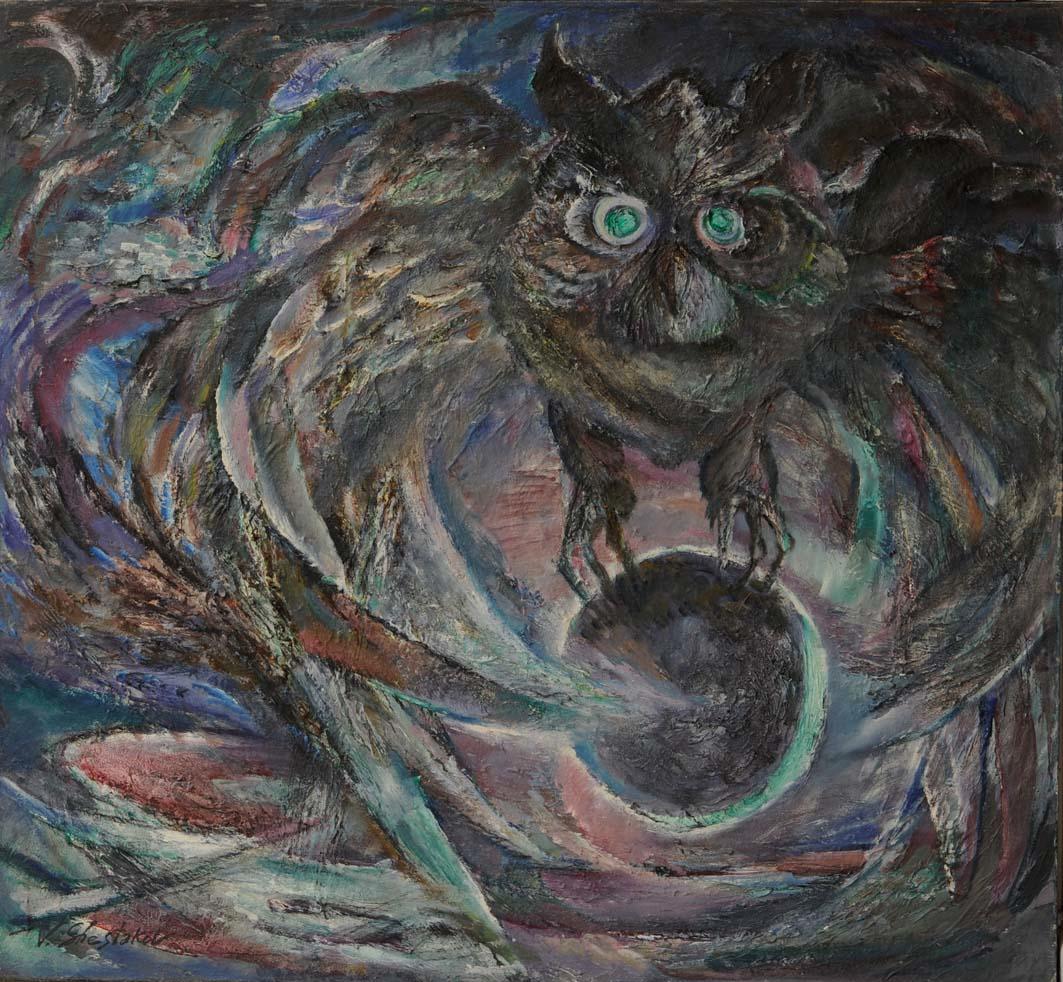 VOLEUR DE LUNE / Dimensions : 120 cm x 110 cm / Techniques de réalisation : Huile / Date de création : 1988 / Support : Toile / Tarif : http://www.art-acquisition.com/fr/content/voleur-de-lune