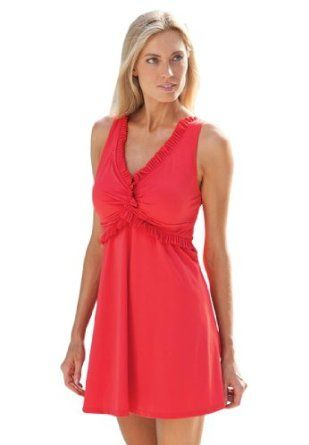 31741df218a Jessica London Plus Size Ruffle-Front Swimdress Hot Red
