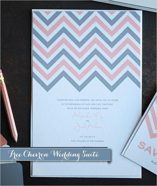 Free Printable Chevron Wedding Invitations   Wedding ...