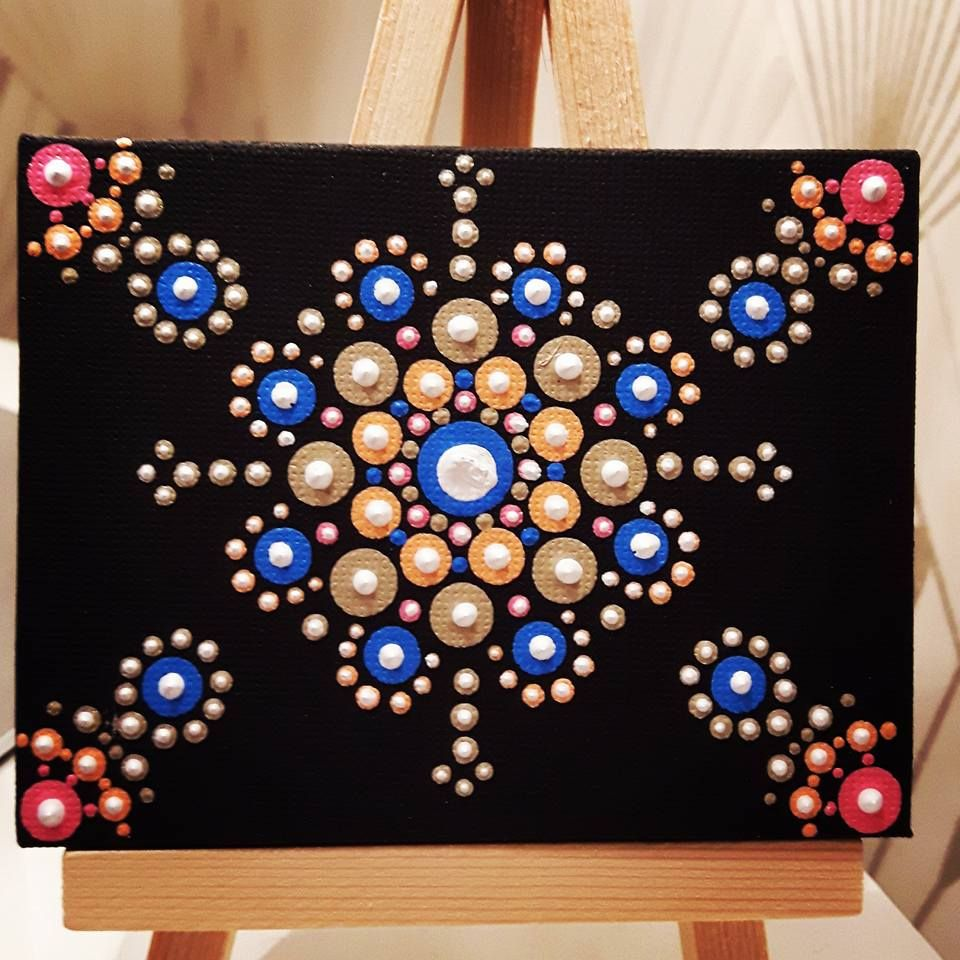 Simple Dot Art Mandala On A Mini Canvas Rock Painting Dot Art