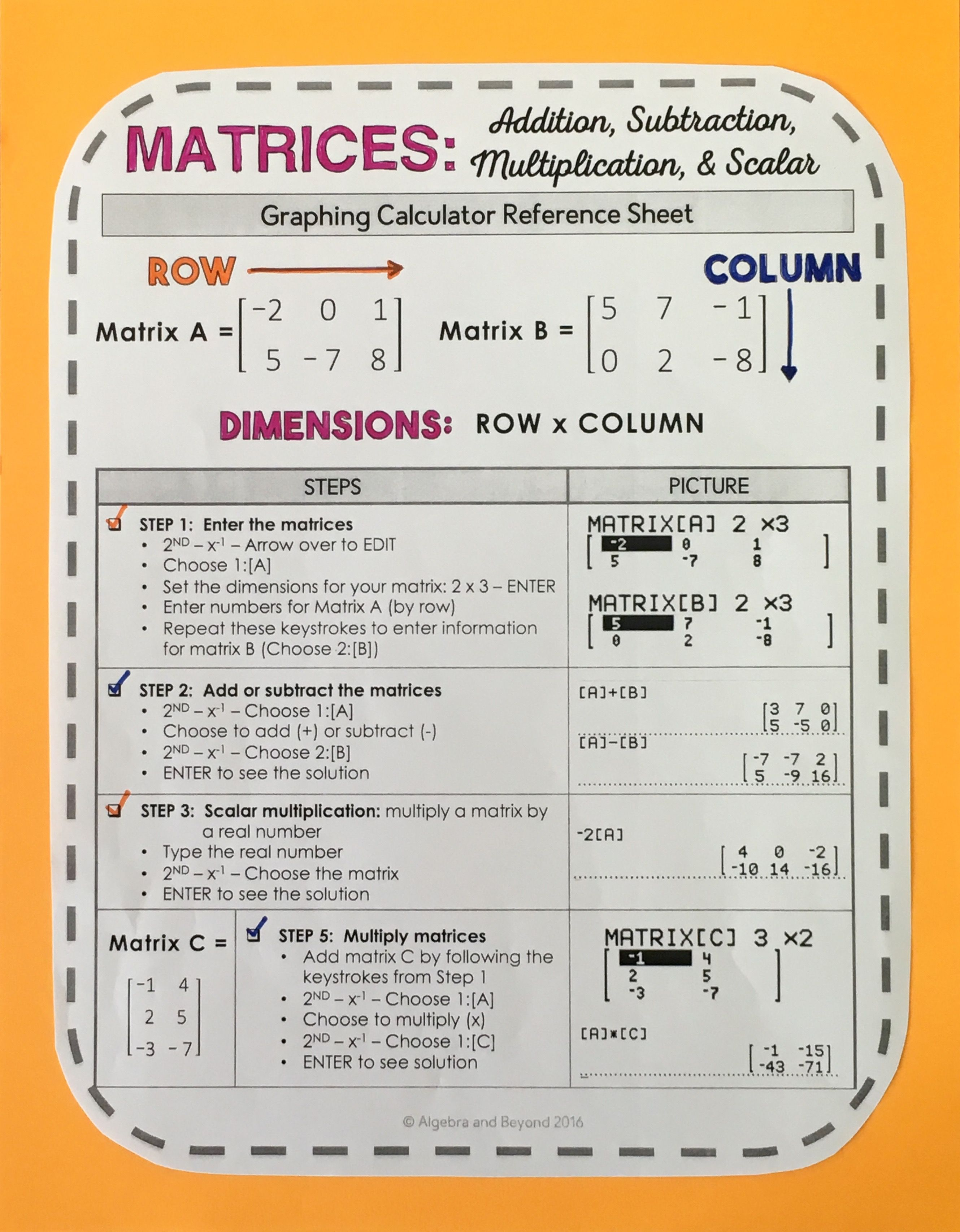 Graphing Calculator Reference Sheet Operations With