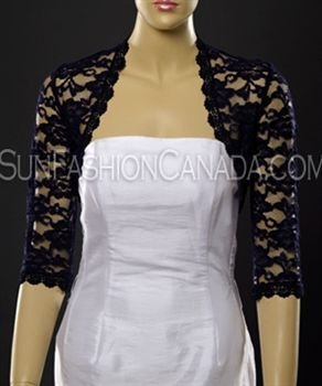 Dark bluenavy leaf design lace elbow length sleeved boleroshrugjacket with satin edging