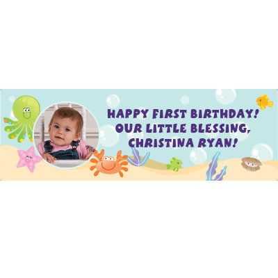 Celebrate their first birthday by creating your very own personalized birthday banner! Perfect for a beach or ocean themed party. Create waves of smiles by ...
