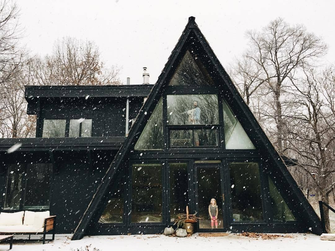 Black a frame home pinterest cabin architecture and for Steel frame cabin