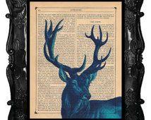 Blue Deer art print - Blue Deer - blue stag deer art print on antique book page or music page deer art print