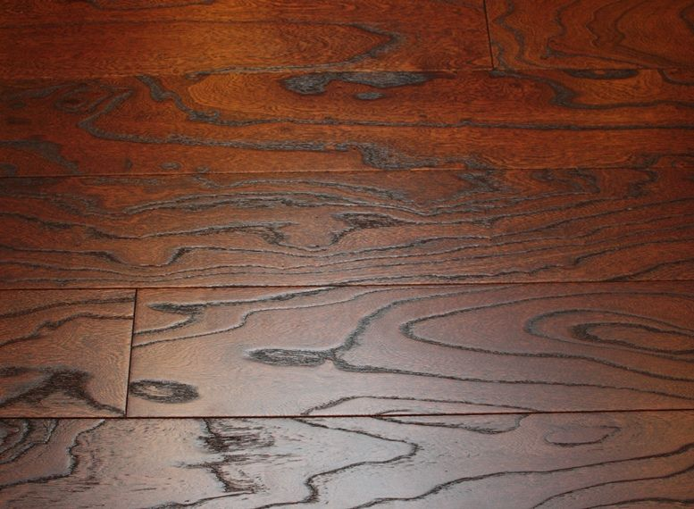 Elm Tobacco 3/8 x 5 Wire Brushed Engineered Hardwood Flooring