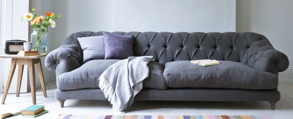 Extra Large Bagsie Sofa In Granite Vintage Linen
