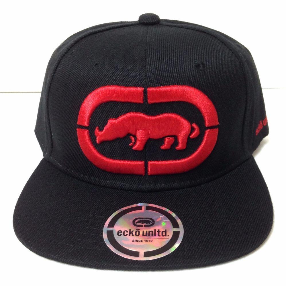 6b2efdb997b New ECKO UNLTD RHINO SNAPBACK HAT Black Red Flat-Bill Rhinoceros Logo Men Women   EckoUnltd  BaseballCap