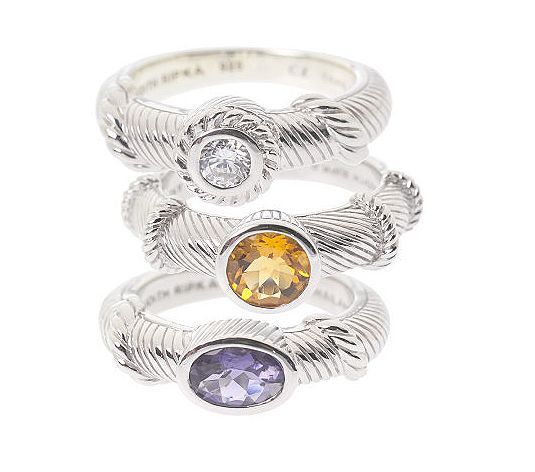 Iolite, Citrine and DMQ stack rings J1054