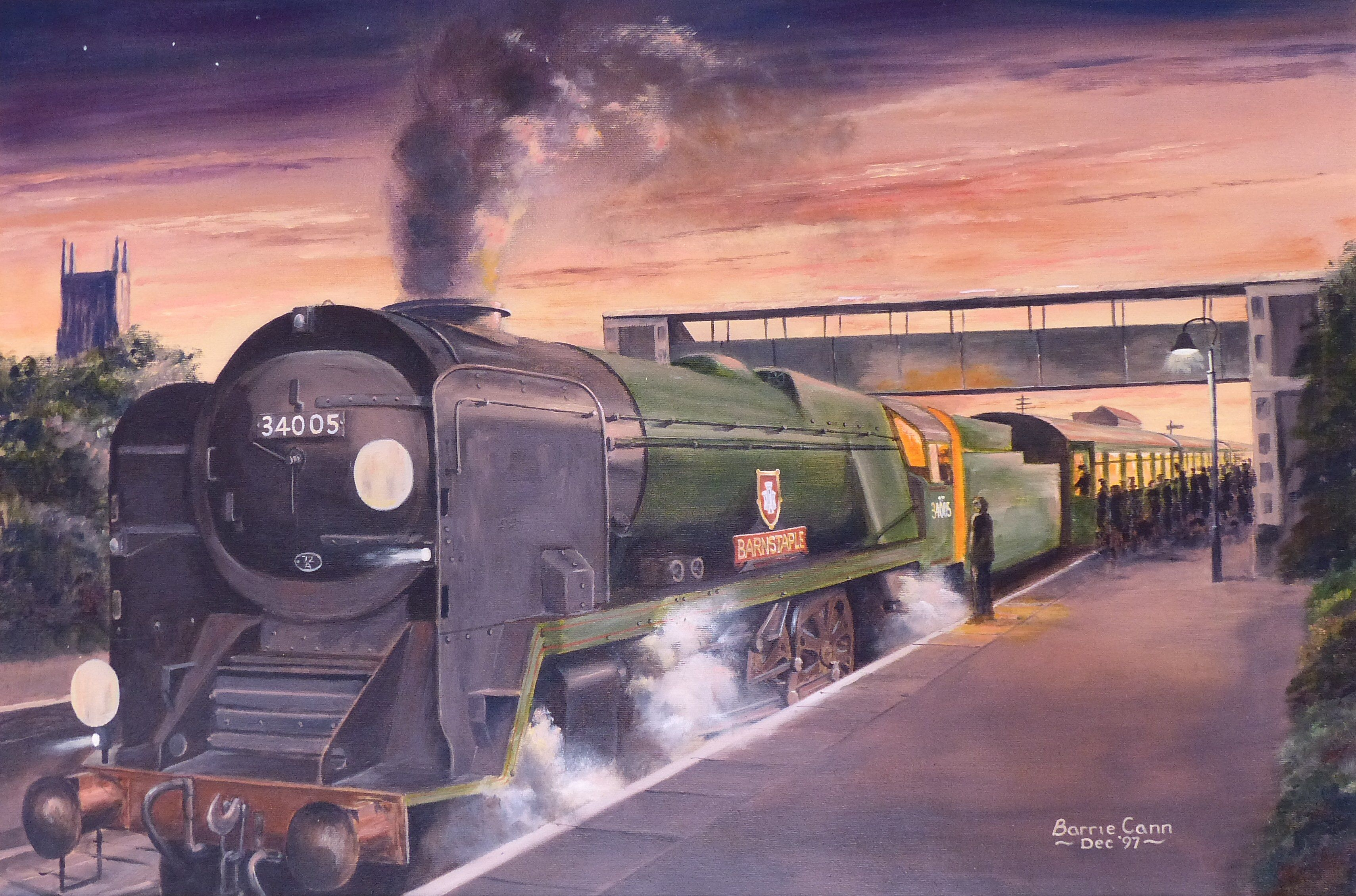 Original oil painting by Barrie Cann Bulleid West Country ...
