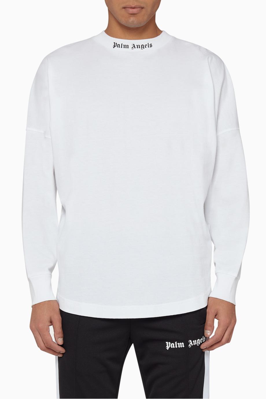 Shop Palm Angels White Oversized Classic Logo Print T Shirt For Men Ounass Uae Mens Tshirts White Sweatshirt Men Print T Shirt [ 1380 x 920 Pixel ]